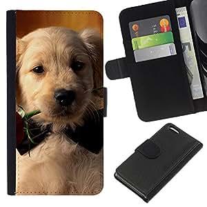 EJOY---La carpeta del tirón la caja de cuero de alta calidad de la PU Caso protector / Apple Iphone 5C / --Labrador Retriever Rose de Bowtie del perro de perrito