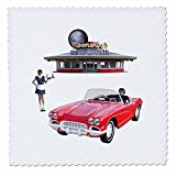 3dRose Boehm Graphics Food - Classic Car Dining Restaurant - 18x18 inch quilt square (qs_274684_7)