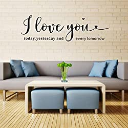 Jarsh Wall Decal Wall Stickers I Love You Letter Easy to Peel Easy to Stick Removable Wall Deco for lover Family Living Room Bedroom