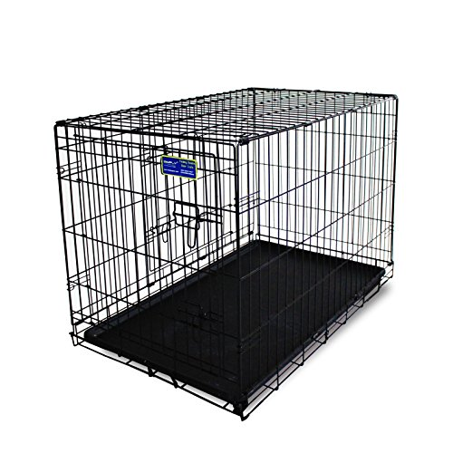 Simply Plus 48-Inch Dog Crate [Newly Designed Model], Double-Doors Folding Metal w/Divider & Tray 48
