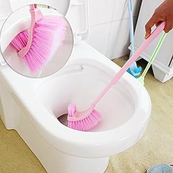 pedgeo (TM) lang Griff Badezimmer WC-Schüssel Scrub Kunststoff Double Side Reinigungsbürste Badezimmerzubehör B01 rose