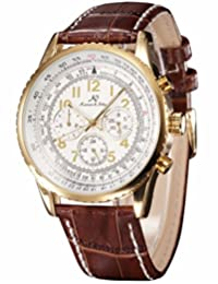 KS Mens Aviator Luxury Day Date 24Hours Automatic Mechanical Brown Leather Wrist Watch KS161