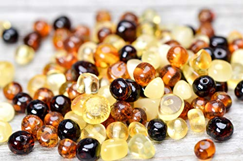 50 Pcs Loose Polished Baltic Amber Beads 4-6mm -
