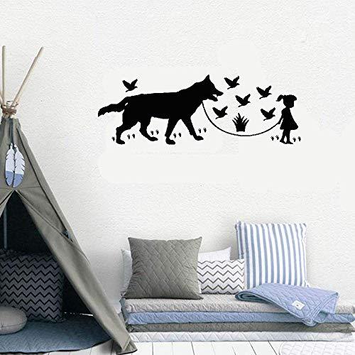 Kuari Wall Sticker Family DIY Decor Art Stickers Home Decor Wall Art Loup,Les Oiseaux Et Une Petite Fille for Nursery Kids Room Girls Room