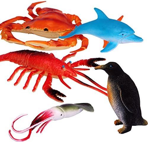 AQUA SAFARI Ocean Animals Lot of 10 Assorted Large Aqua Animal Education Toy