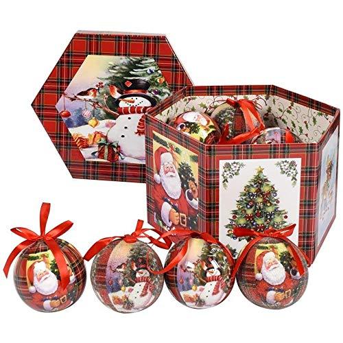 MAURYS Box Esagonale con 14 Palle Albero 8cm Albero Rosso