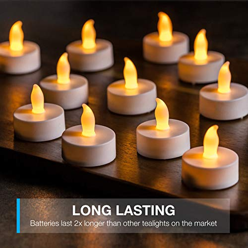 LED Candles, Lasts 2X Longer, Realistic Tea Light Candles, Flameless Candles to Create a Warm Ambiance, Naturally Flickering Bright Tealights,Battery Powered Candles,Unscented, Batteries Included (24) by Vont (Image #1)