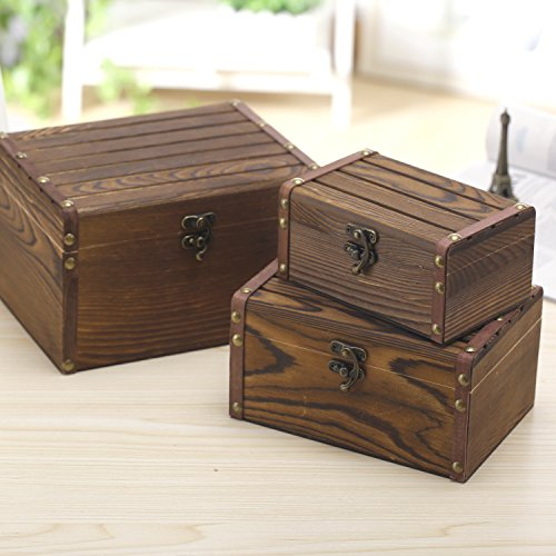 Set of 3 Vintage Style Wood Decorative Nesting Boxes, Jewelry & Trinket Storage Chests with Latch, Brown (3 Nesting Boxes Toy)