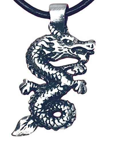 - Trilogy Jewelry Pewter Chinese China Dragon Pendant on Leather Necklace