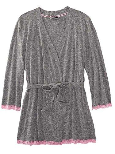 Underwear Joe Boxer (Joe Boxer Womens Grey Lacy Robe Tie Front Bathrobe Long Sleeve House Coat)