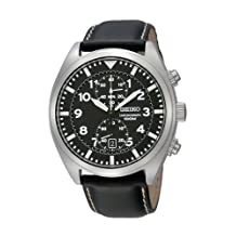 Seiko Men's SNN231P2 Black Leather Quartz Watch