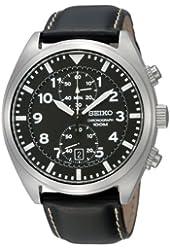 Seiko SNN231P2 Chronograph Men's Black Dial Black Leather Strap Quartz Watch