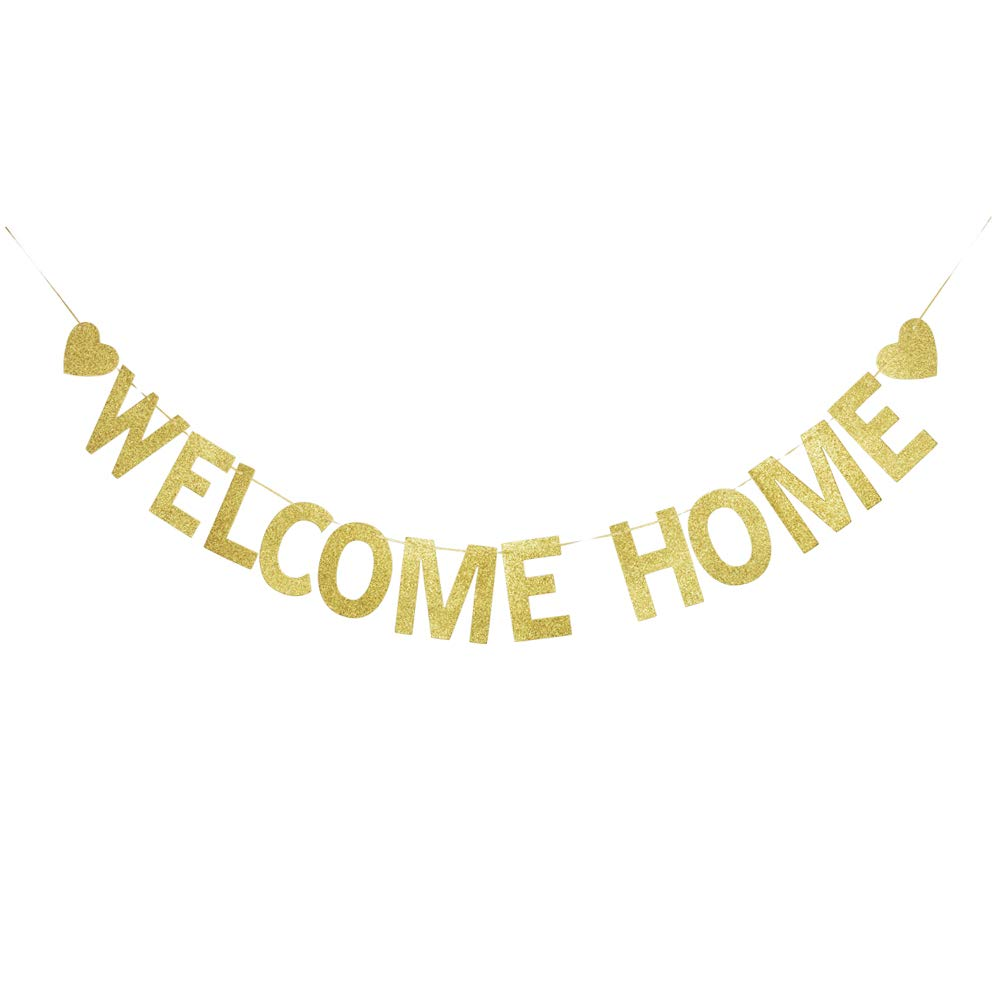 Welcome Home Banner, Gold Gliter Paper Sign Decorations for Home Party/New Year/Christmas
