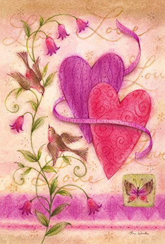 Toland Home Garden Love Birds 28 x 40 Inch Decorative Valentine Heart Spring Flower Bird House Flag