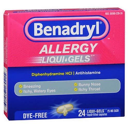 Benadryl Liqui-Gels Antihistamine Allergy Medicine & Cold Relief, Dye-Free Liquid Gels, 24 ct