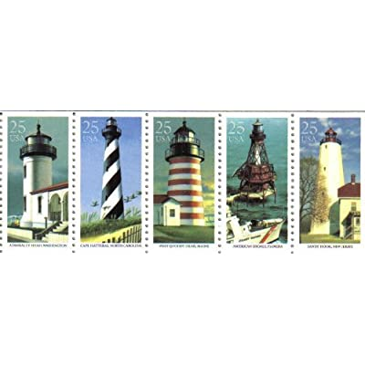 1990 LIGHTHOUSES #2474a Booklet Pane of 5 x 25 cents US Postage Stamps: Everything Else