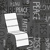 Kettler 0309016-8575 Coussin pour fauteuil de jardin Gris clair Motif écritures 170x48x3cm