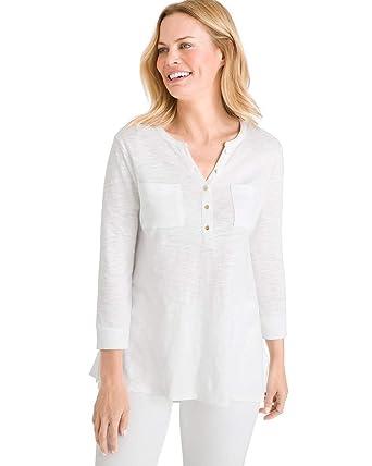 b611fd49b3 Chico's Women's Cotton Slub Henley Top at Amazon Women's Clothing store: