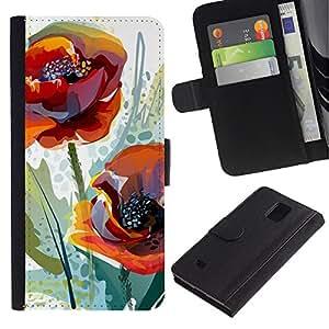 Paccase / Billetera de Cuero Caso del tirón Titular de la tarjeta Carcasa Funda para - Poppy Flower Spring Nature Watercolor - Samsung Galaxy Note 4 SM-N910