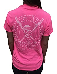 Salty To The Bone Pirate Skull and Fish Crossbones Pink T-Shirt