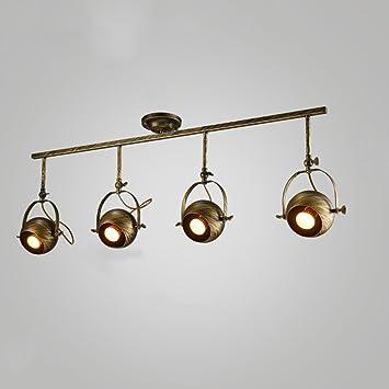 Retro industrial techo luz lámpara de pared ropa tienda carril lámparas bar LED focos fondo pared ...