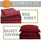 Clara Clark Bed Sheet and Duvet Cover Set Complete 7 Piece, Queen, Burgundy Red, 7