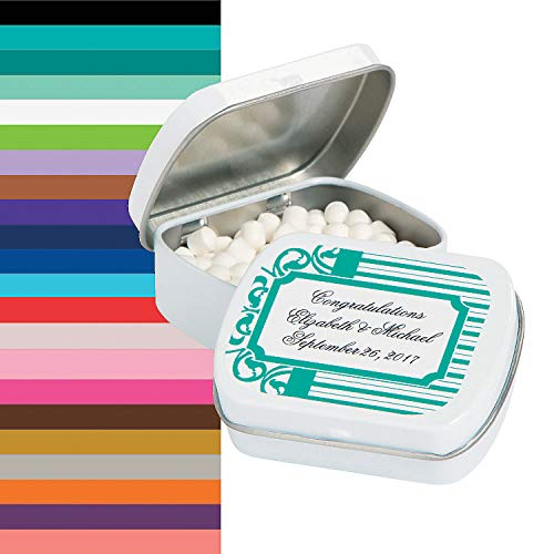 (Fun Express - Personalized Filigree & Stripes Mint Tin for Wedding - Edibles - Mints - Mint Tin & Matchbook - Wedding - 24 Pieces)