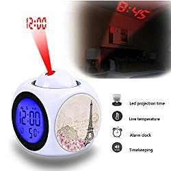 Projection Alarm Clock Wake Up Bedroom with Data and Temperature Display Talking Function, LED Wall/Ceiling Projection,Customize the pattern-043.Background, Vintage, Eiffel, Flower