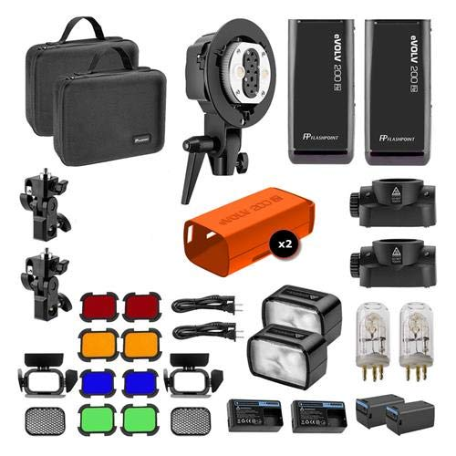Adorama Flash - Flashpoint eVOLV 200 TTL Pocket Flash Dual Head Pro Kit - Adorama Exclusive Kit