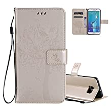Galaxy S6 Edge Wallet Case Cover Embossed Flower Cat Wishing Tree Design Aeeque Shockproof Folio Flip Phone Cases Slim Fit Bumper Full Protection Cover Case for Samsung Galaxy S6 Edge, Gold
