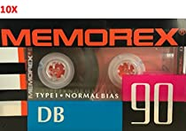 (10-Pack) Memorex DB90 Audio Cassette Tape Blank Normal Bias Type I