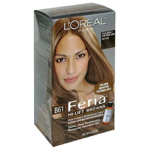 L'Oreal Feria Hi-Lift Browns Multi-Faceted Shimmering Colour, Level 3 Permanent, Hi-Lift Cool Brown B61 (Pack of 2) by L'Oreal Paris