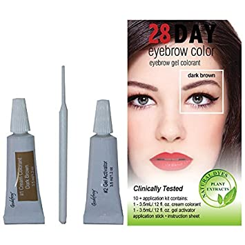 Amazon.com: 28 Day Eyebrow Color Dark Brown - Gel Colorant Covers ...