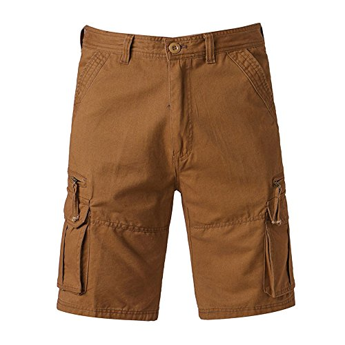 iZHH Men's Casual Pure Color Outdoors Pocket Beach Trouser Cargo Shorts Pant (Coffee,33)