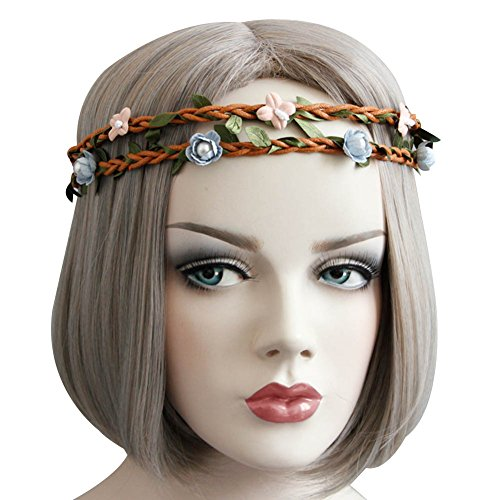 [Ztl Women's Floral Hair Band Bride Elegant Headband Summer Beach Hair Accessory] (1920s Beach Costume)