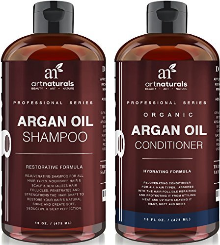 Art Naturals Organic Moroccan Argan Oil Shampoo and Conditioner Set (2 x 16 Oz) - Sulfate Free - Volumizing & Moisturizing, Gentle on Curly & Color Treated Hair,For Men & Women Infused with Keratin (Healthy Shampoo And Conditioner compare prices)
