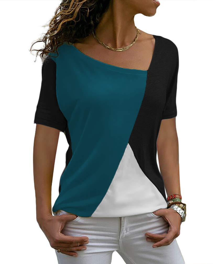 Sarin Mathews Womens Shirts Casual Tee Shirts Short Sleeve Patchwork Color Block Loose Fits Tunic Tops Blouses