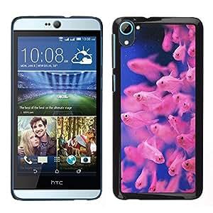 Buceo Tropical Fish Azul Rosa Coral Reef - Metal de aluminio y de plástico duro Caja del teléfono - Negro - HTC Desire D826