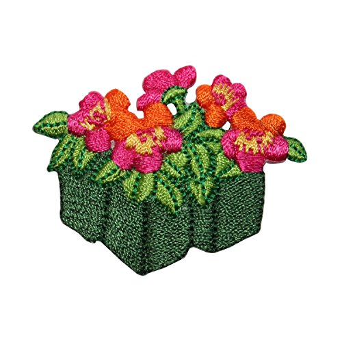 (ID 7060 Pink Flower Planter Patch Garden Plant Pansy Embroidered Iron On Applique)