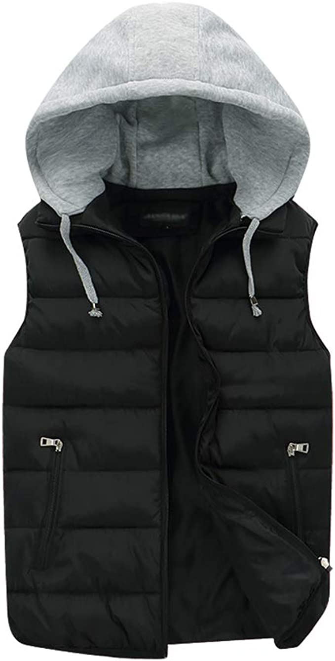 WSPLYSPJY Mens Winter Solid Color Hoodies Sleeveless Slim Fit Down Vest Jackets