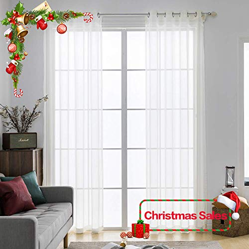 MIULEE 2 Panels Solid Color Ivory Sheer Curtains Elegant Grommet Top Window Voile Panels/Drapes/Treatment for Bedroom Living Room (54X84 Inches)
