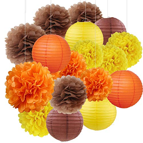 Sorive Fall Party Decorations, Autumn Decorations, Thanksgiving Party Package, Orange Party Kit,Tissue Pom Pom Paper Lanterns Thanksgiving Party Decorations/Birthday Party Decorations - Trio Lighting Wall