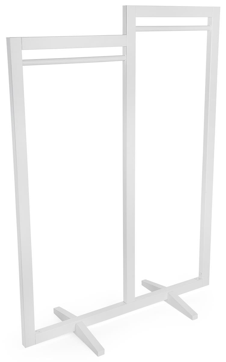 Displays2go Dual Hanging Rail Clothing Rack, Floor Standing Garment Display – White (FRMRKDBLWT)