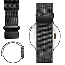22mm Magnetic Milanese Loop Stainless Steel Magnet Closure Lock Band For Samsung Gear 2, gear 2 Neo, Gear Live 2015 (YESOO Retail Packaging - 180 Days Warranty) (22mm, Magnetic Black)