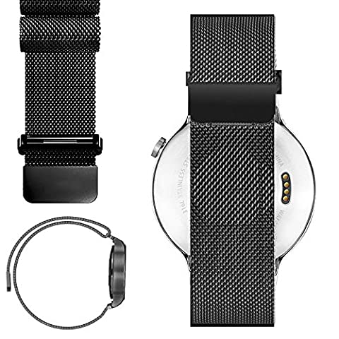 20mm Magnetic Milanese Loop Stainless Steel Magnet Watch Band For 20mm Pebble Time Round, Gear S2 Classic SM-R7320 (YESOO Retail Packaging - 180 Days Warranty) (Pebble Steel Black Watchband)