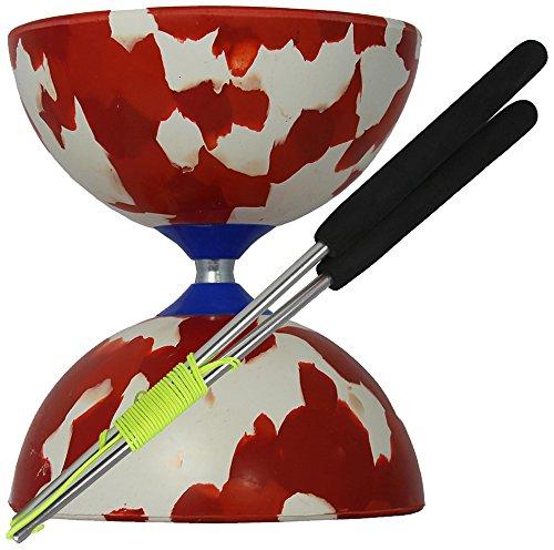 Juggle Dream - Diábolo Jester y palos de control de aluminio, color rojo/blanco (AMPAC-001/RW) diabolo diablo henrys mister babache