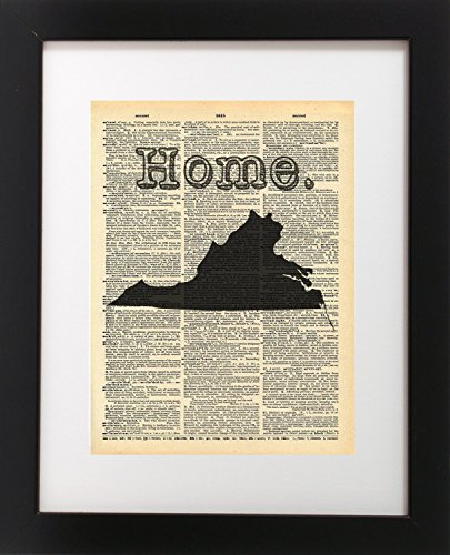 Virginia State Vintage Map Vintage Dictionary Print 8x10 inch Home Vintage Art Abstract Prints Wall Art for Home Decor Wall Decorations For Living Room Bedroom Office (Virginia Antique Map)