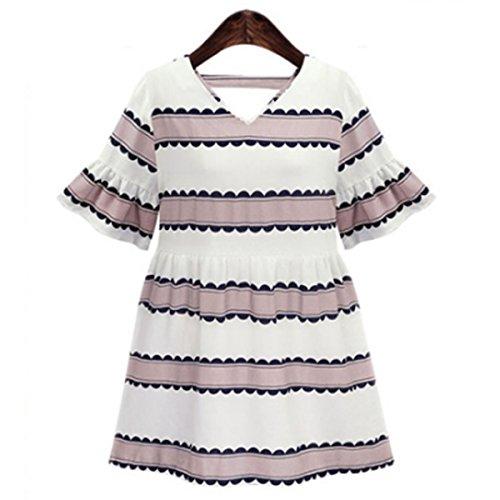 Mtydudxe Femme Robe Vintage Col V Profond Mini Causal lgant Mode D't Pink