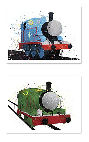 PGbureau 8x10 P39 Thomas and Friends Watercolor Train Prints.Wall Art Decor.Thomas the Tank - Percy the Small Engine (Thomas Tank Engine Pictures)