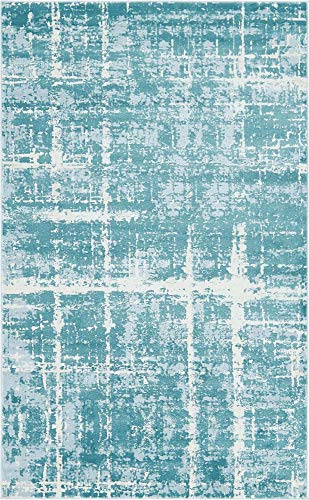 Unique Loom Uptown Collection by Jill Zarin Collection Textured Modern Turquoise Area Rug (5' 0 x 8' 0) (Zara Rug Collection)